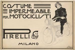 Bozzetto per pubblicità degli impermeabili per motociclisti Pirelli