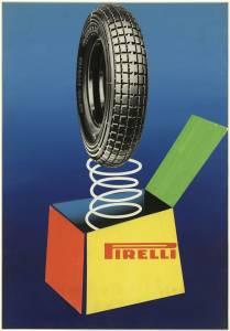 Bozzetto per pubblicità dei pneumatici per motor scooter Pirelli
