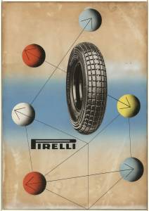 Bozzetto per pubblicità dei pneumatici motor scooter Pirelli