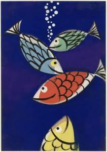 Bozzetto per pubblicità degli articoli per la pesca subacquea Pirelli